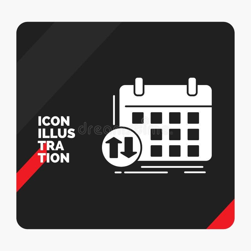 Fundo criativo vermelho e preto da apresentação para a programação, classes, calendário, nomeação, ícone do Glyph do evento ilustração royalty free
