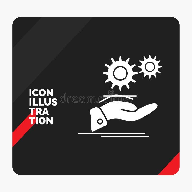 Fundo criativo vermelho e preto da apresentação para a solução, mão, ideia, engrenagem, ícone do Glyph dos serviços ilustração do vetor