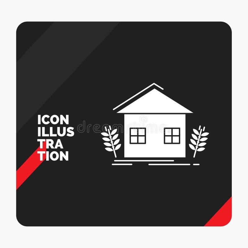 Fundo criativo vermelho e preto para a agricultura, urbano, ecologia da apresentação, ambiente, cultivando o ícone do Glyph ilustração stock