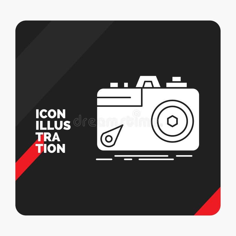 Fundo criativo vermelho e preto para a c?mera, fotografia da apresenta??o, capta??o, foto, ?cone do Glyph da abertura ilustração royalty free