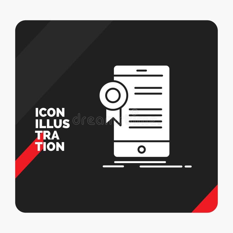 Fundo criativo vermelho e preto para o certificado, certificação da apresentação, App, aplicação, ícone do Glyph da aprovação ilustração royalty free