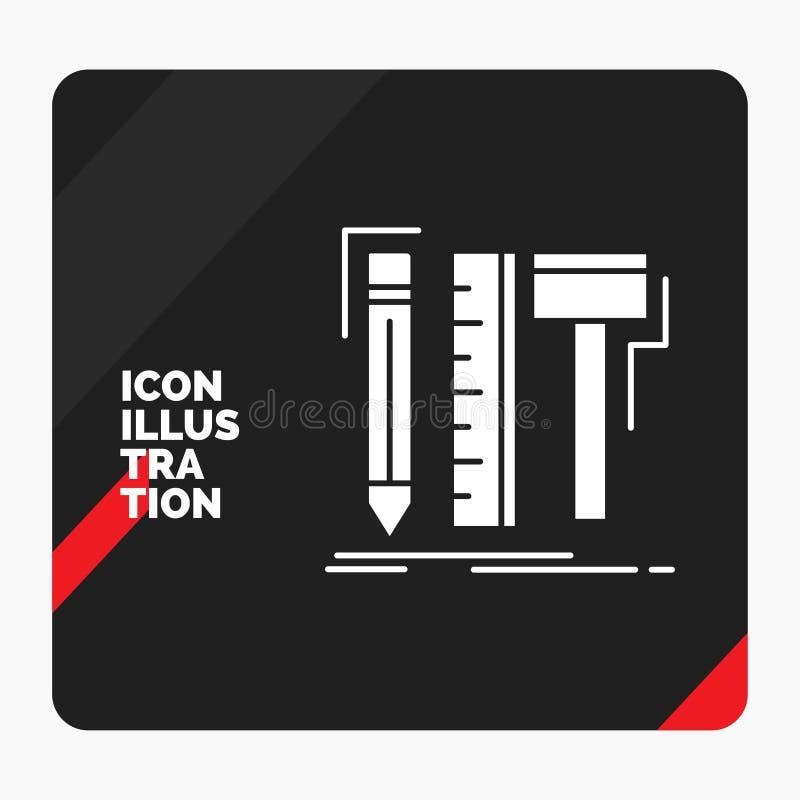 Fundo criativo vermelho e preto para o projeto, desenhista da apresentação, digital, ferramentas, ícone do Glyph do lápis ilustração do vetor