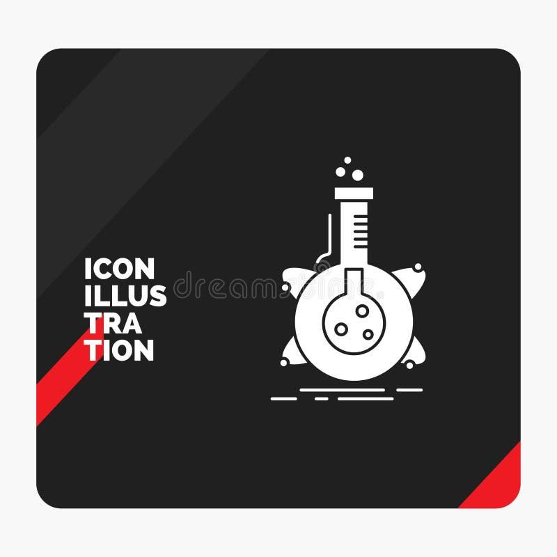 Fundo criativo vermelho e preto para a pesquisa, laboratório da apresentação, garrafa, tubo, ícone do Glyph do desenvolvimento ilustração stock