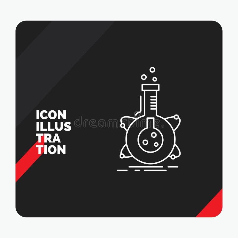 Fundo criativo vermelho e preto para a pesquisa, laboratório da apresentação, garrafa, tubo, linha ícone do desenvolvimento ilustração royalty free