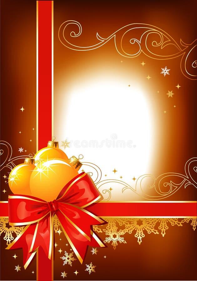 Fundo/curva, esferas e ornamento do Natal ilustração do vetor