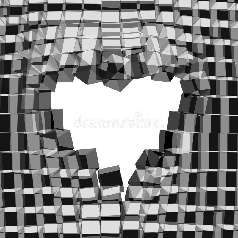 Fundo 3D abstrato com coração Fundo rachado do vetor ilustração stock