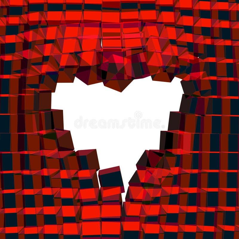 Fundo 3D abstrato com coração Vetor rachado ilustração stock