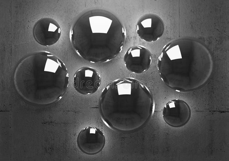Fundo 3d abstrato com esferas de brilho ilustração royalty free