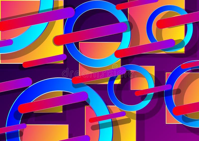 fundo 3d abstrato com formas geométricas coloridas com inclinação e sombra ilustração do vetor