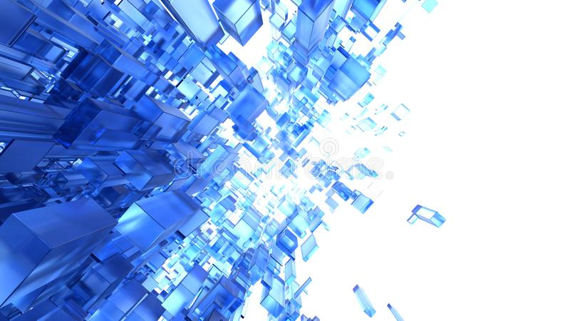 Fundo 3d abstrato com os cubos de vidro azuis ilustração do vetor