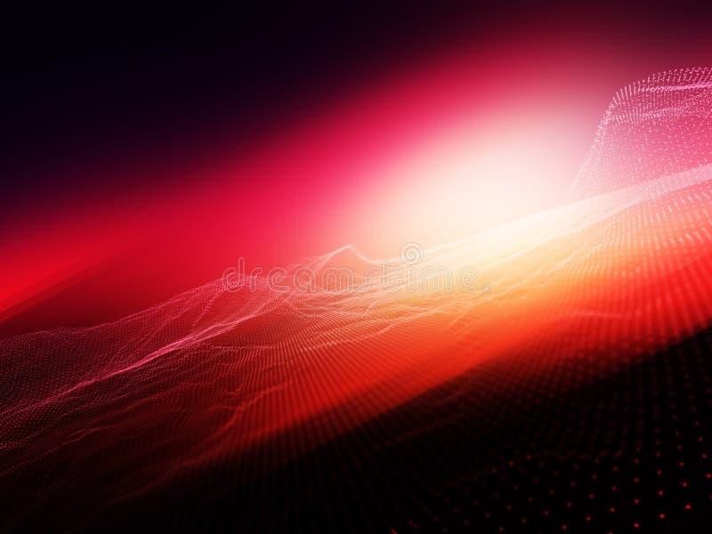 fundo 3D abstrato com os pontos de fluxo da partícula contra o fundo borrado brilhante ilustração stock