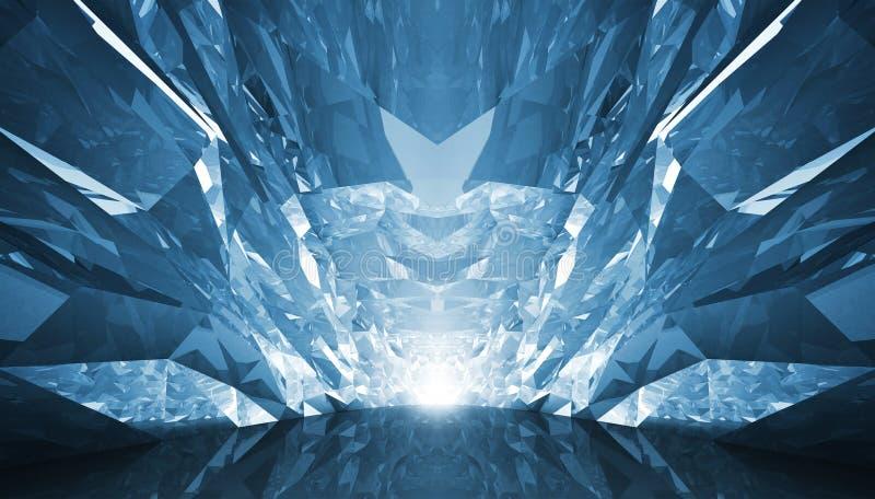 Fundo 3d abstrato Corredor de cristal com paredes ásperas e g ilustração do vetor
