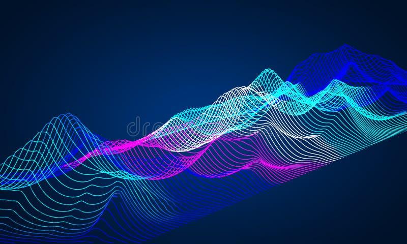 Fundo 3d abstrato da música Equalizador para ondas da música com linhas equalizador das ondas ilustração do vetor