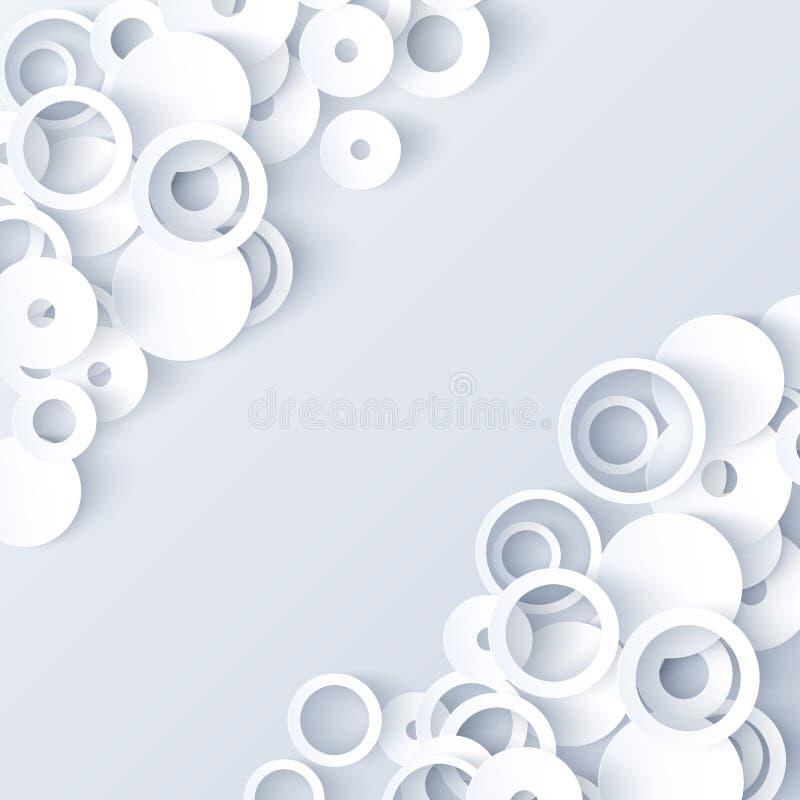 Fundo 3d abstrato de papel branco e cinzento ilustração do vetor