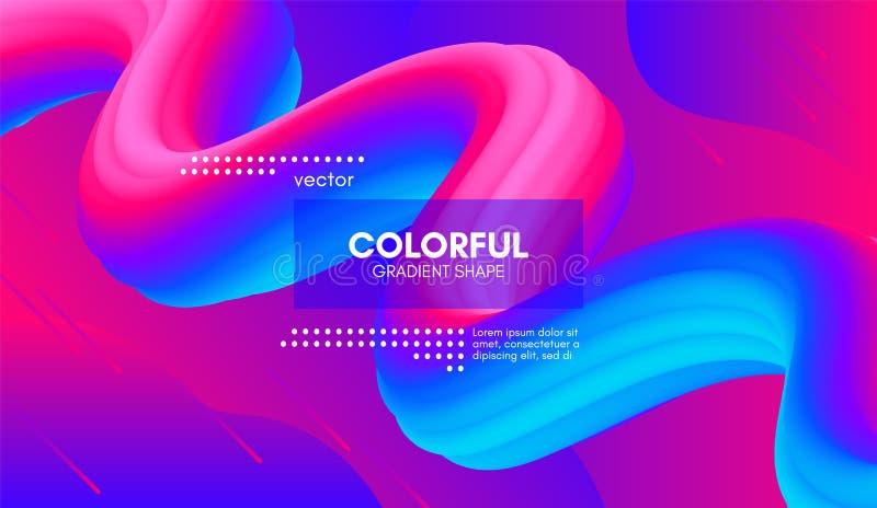 Fundo 3d abstrato Forma colorida do líquido da onda ilustração do vetor