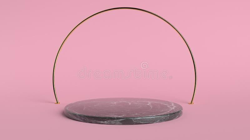 fundo 3d abstrato para render Plataforma cor-de-rosa para a exposição do produto Lugar interior do pódio Molde vazio da decoração fotos de stock royalty free