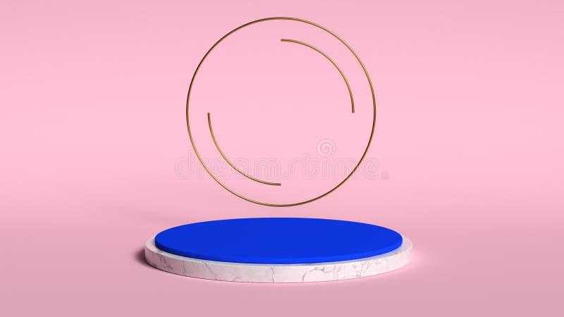 fundo 3d abstrato para render Plataforma cor-de-rosa para a exposição do produto Lugar interior do pódio Molde vazio da decoração imagem de stock