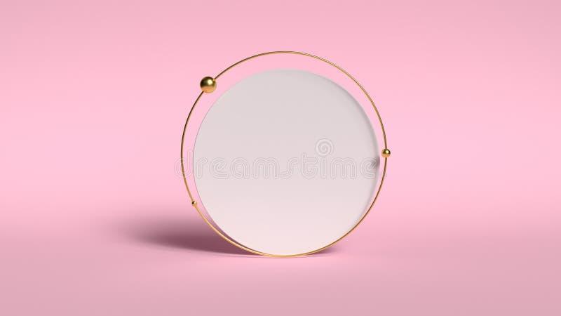 fundo 3d abstrato para render Plataforma cor-de-rosa para a exposição do produto Lugar interior do pódio Molde vazio da decoração imagens de stock