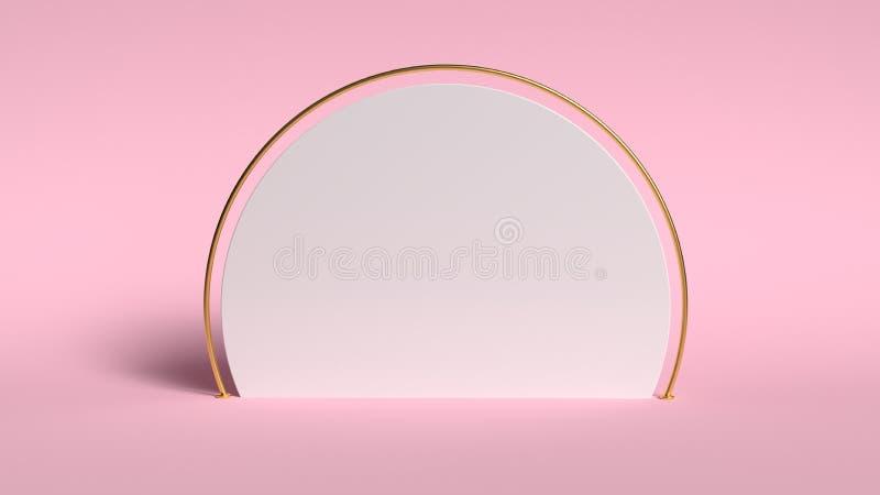 fundo 3d abstrato para render Plataforma cor-de-rosa para a exposição do produto Lugar interior do pódio Molde vazio da decoração fotografia de stock royalty free