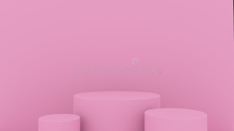 fundo 3d abstrato para render Plataforma cor-de-rosa para a exposição do produto Lugar interior do pódio Molde vazio da decoração foto de stock royalty free