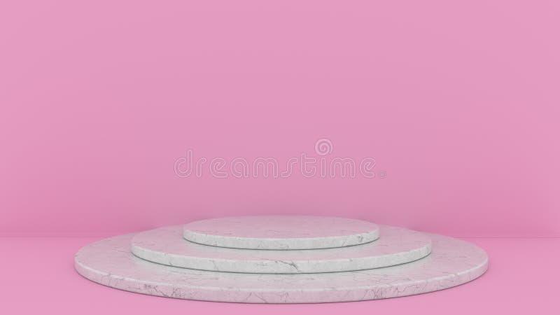 fundo 3d abstrato para render Plataforma para a exposição do produto Lugar interior do pódio Molde vazio da decoração para o proj foto de stock royalty free