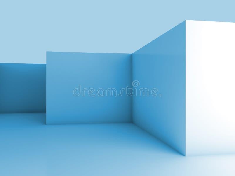 Fundo 3d arquitetónico abstrato com interior vazio azul ilustração royalty free