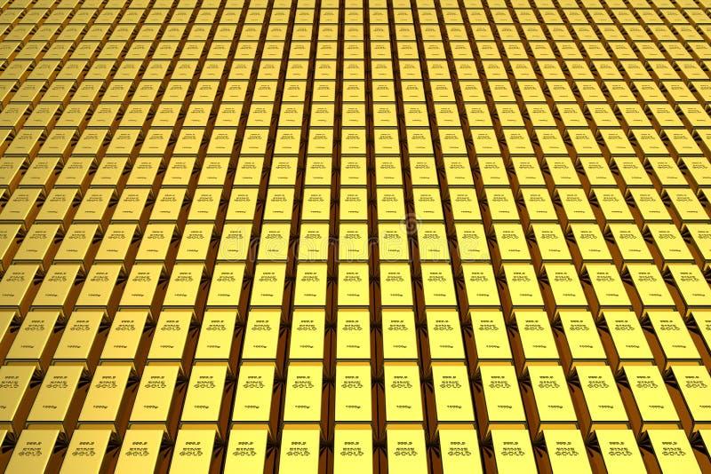 Fundo 3d das barras de ouro ilustração royalty free