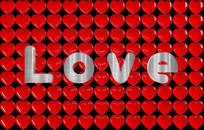 fundo 3D de muitos corações com o AMOR da inscrição ilustração stock