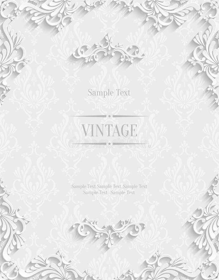 Fundo 3d floral branco do vetor Molde para cartões do convite do Natal ilustração royalty free