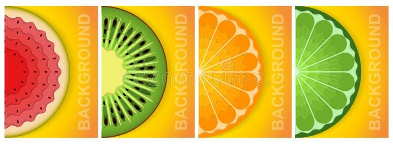 fundo 3d Folha de papel Alimento natural Elementos gr?ficos abstratos coloridos do conceito ilustração royalty free