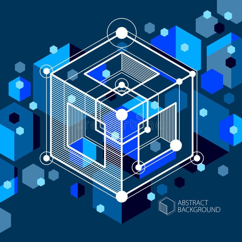 Fundo 3D, ilustração preto azul retro moderno do sumário futurista geométrica do vetor das formas Esquema abstrato do motor ou ilustração royalty free