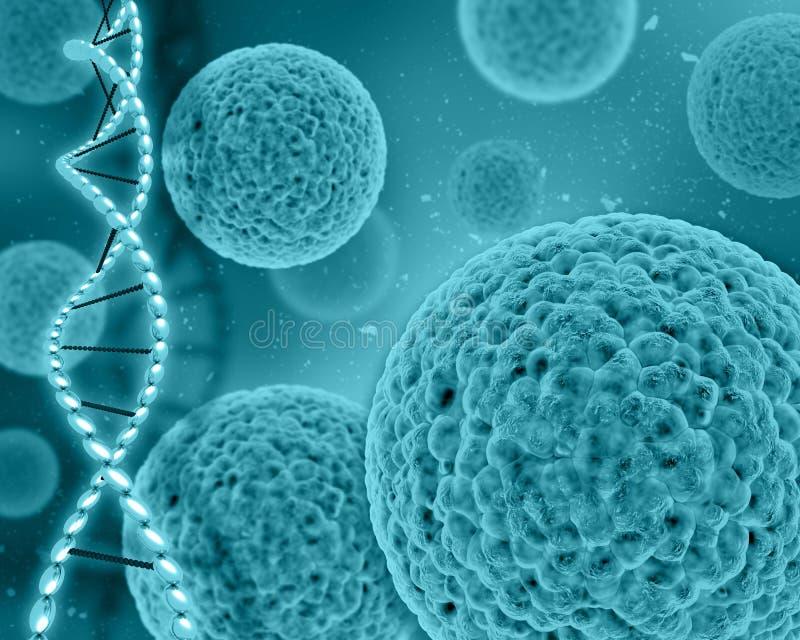 fundo 3D médico com pilhas do vírus e costas do ADN ilustração do vetor