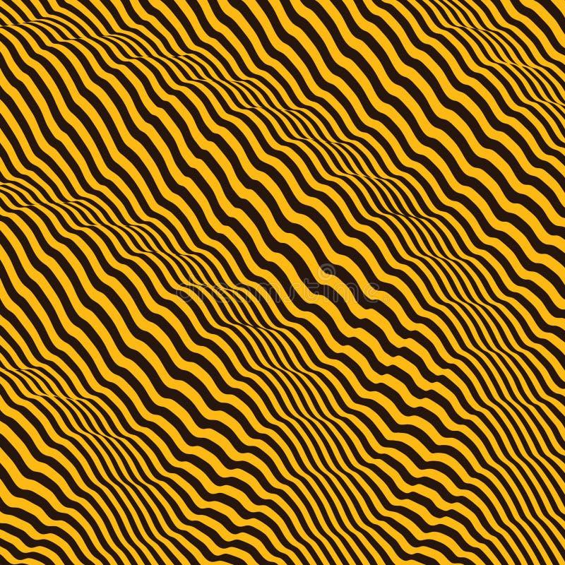 fundo 3d ondulado Efeito dinâmico Teste padrão com ilusão ótica ilustração do vetor