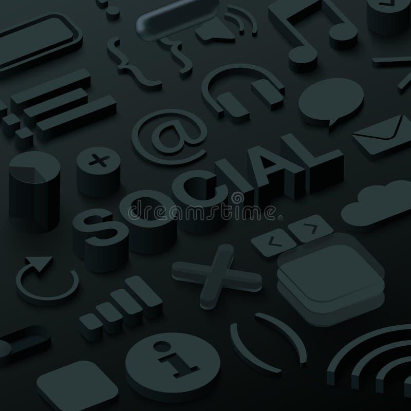 Fundo 3d social preto com símbolos da Web ilustração stock