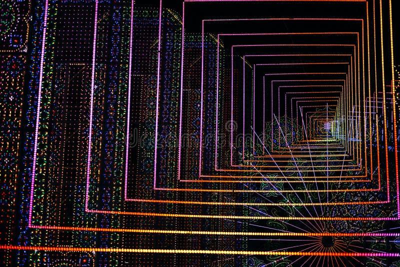fundo 3d T?nel virtual com luzes de incandesc?ncia conduzidas fotografia de stock