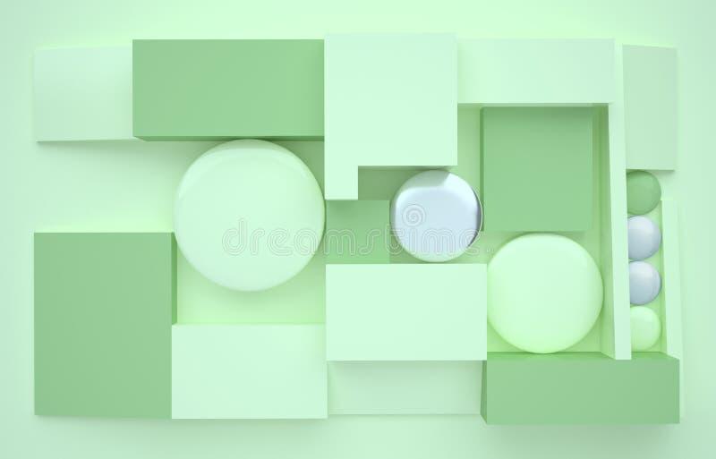 fundo 3D verde D? forma a 3d Objetos geom?tricos minimalism Fundo simples Ilustra??o moderna na moda renda geom?trico ilustração stock