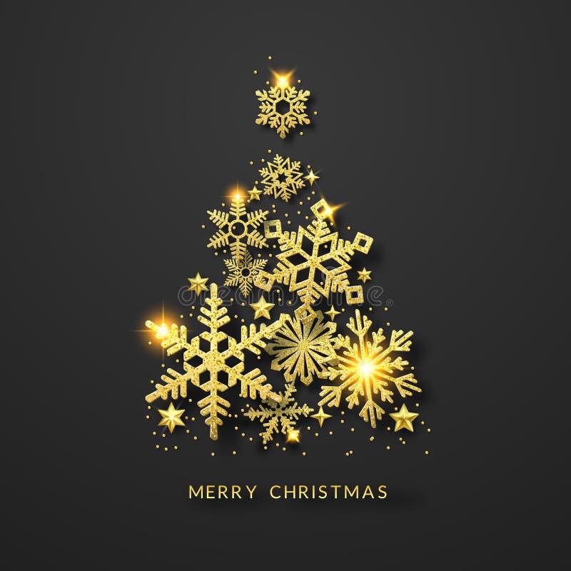 Fundo da árvore de Natal com os flocos de neve, as estrelas e as bolas de brilho do ouro Ilustração do cartão do Feliz Natal na o ilustração do vetor