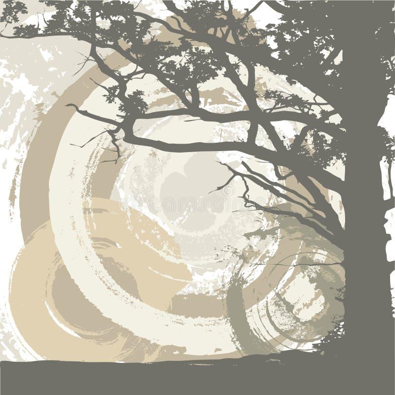 Fundo da árvore e do grunge ilustração stock