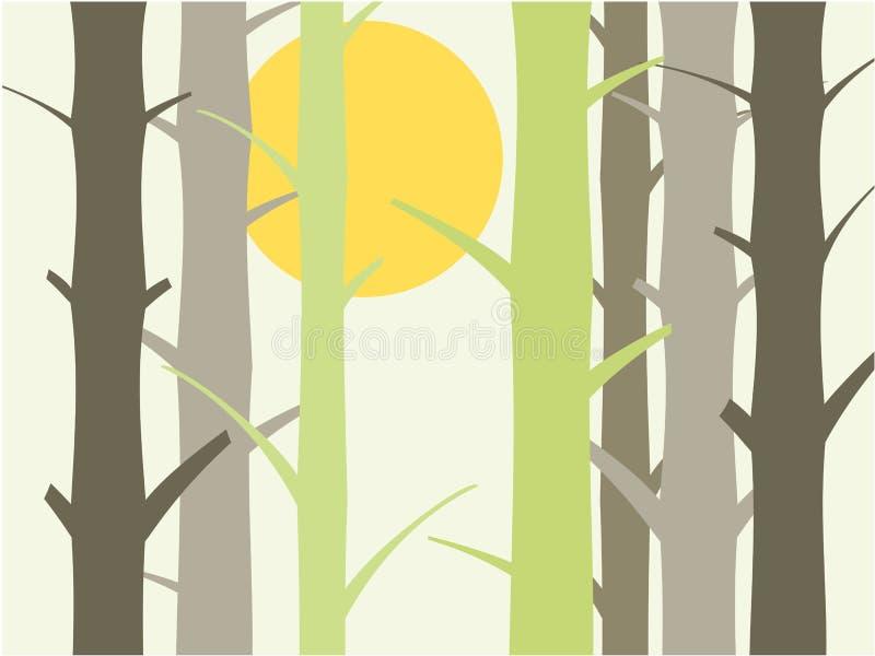 Ilustração do fundo da árvore e do sol ilustração royalty free