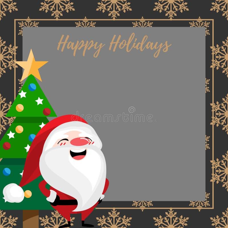 Fundo da época de férias do Natal com a árvore de Santa Claus, de Natal e boas festas o texto ilustração do vetor