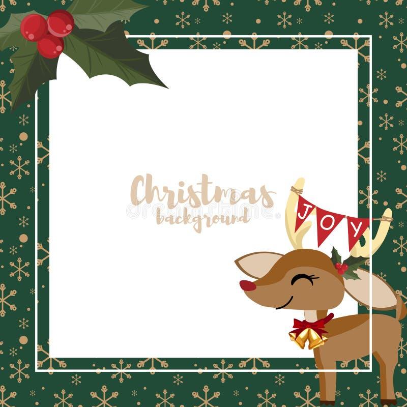 Fundo da ?poca de f?rias do Natal com rena bonito, flocos de neve e bagas do azevinho no fundo verde com espa?o branco da c?pia ilustração stock