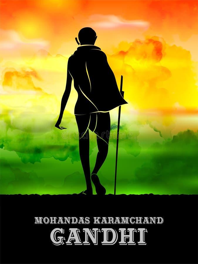 Fundo da Índia com herói da nação e lutador Mahatma Gandhi para o Dia da Independência ou Gandhi Jayanti da liberdade ilustração stock