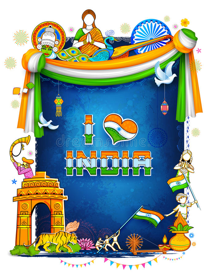 Fundo da Índia que mostra suas cultura e diversidade incríveis com monumento, festival da dança ilustração stock