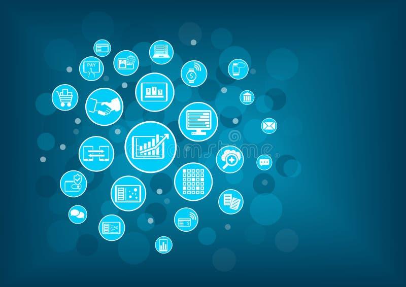 Fundo da Aleta-tecnologia (tecnologia financeira) Inovação da tecnologia da informação dentro da operação bancária ilustração do vetor
