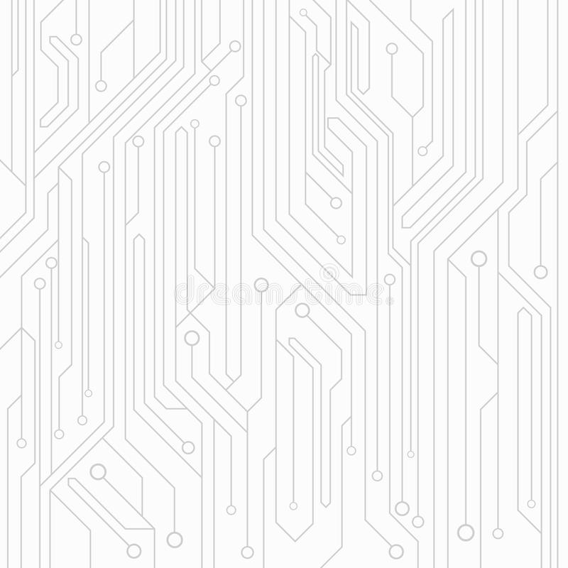 fundo da Alto-tecnologia da cor branca de uma placa do computador com os conectores da cor cinzenta Circuito de computador Ilustr ilustração stock