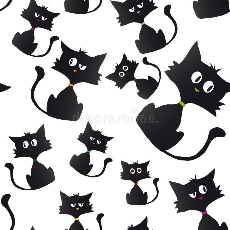 Fundo da amostra dos desenhos animados do gato preto ilustração stock