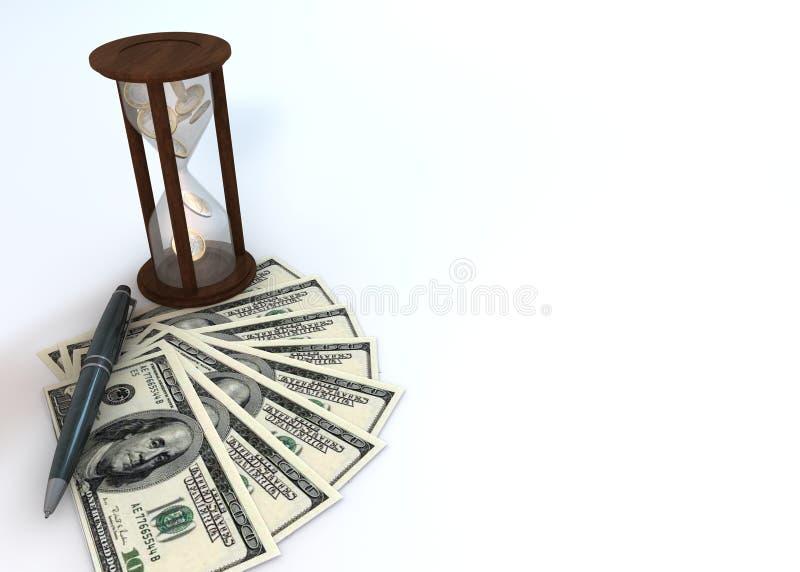 Fundo da ampulheta do dinheiro ilustração stock