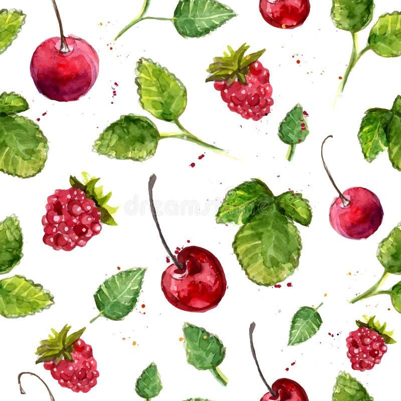 Fundo da aquarela com cereja, framboesa e folhas Teste padrão sem emenda do vetor ilustração stock