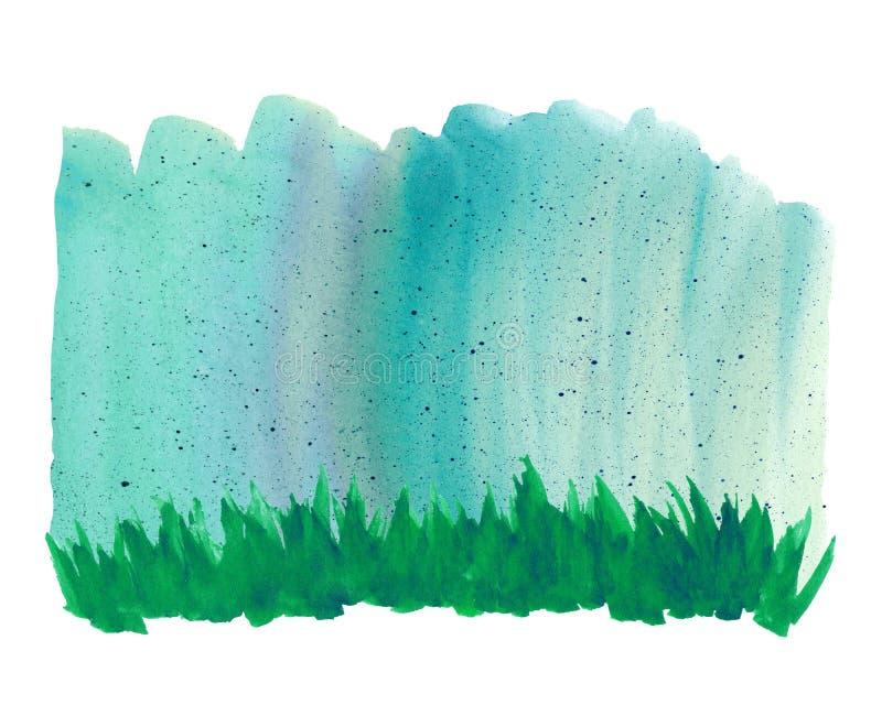 Fundo da aquarela com grama verde e chuva do verão fotografia de stock