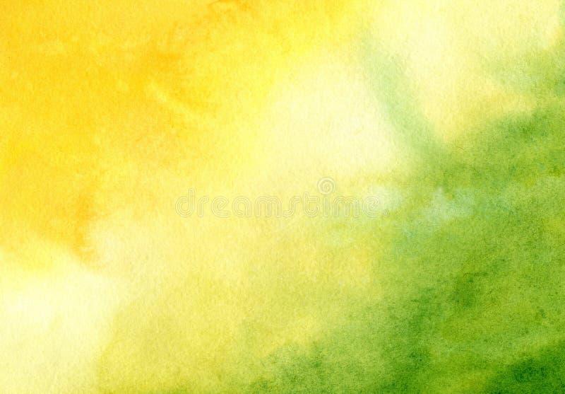 Fundo da aquarela com o sol abstrato pintado à mão e a grama Projeto das bandeiras, cartazes, cartazes, cartões, convites, ilustração do vetor